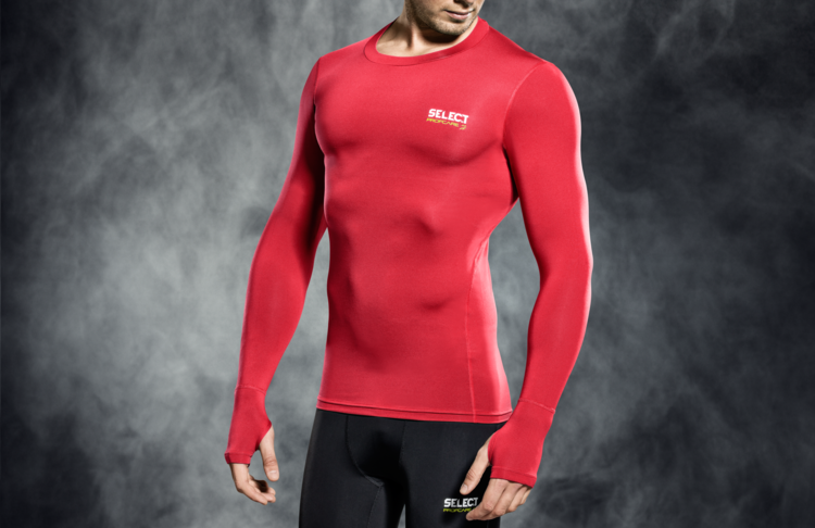 6902 T-SHIRT DE COMPRESSION MANCHES LONGUES - rouge