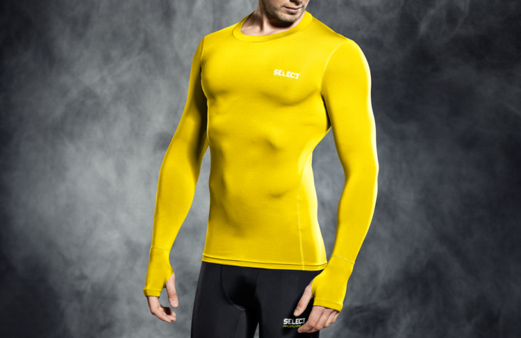 6902 T-SHIRT DE COMPRESSION MANCHES LONGUES - jaune